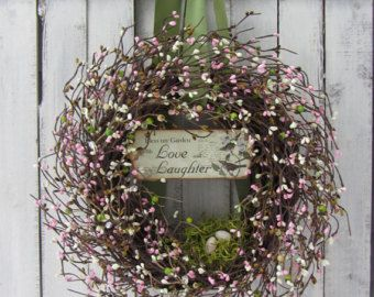 Easter Wreath, Spring Door Decor, Spring Wreath, Primitive Easter Wreath, Welcome Wreath, Country Easter   Primitive country grapevine wreath with grungy fabric eggs & (happy spring) sign with moss, greenery, & berries  Wreath dimensions are: 18 inches diameter; 5. 5 inches deep.   (This wreath will be made especially for you with exact same material & design.)