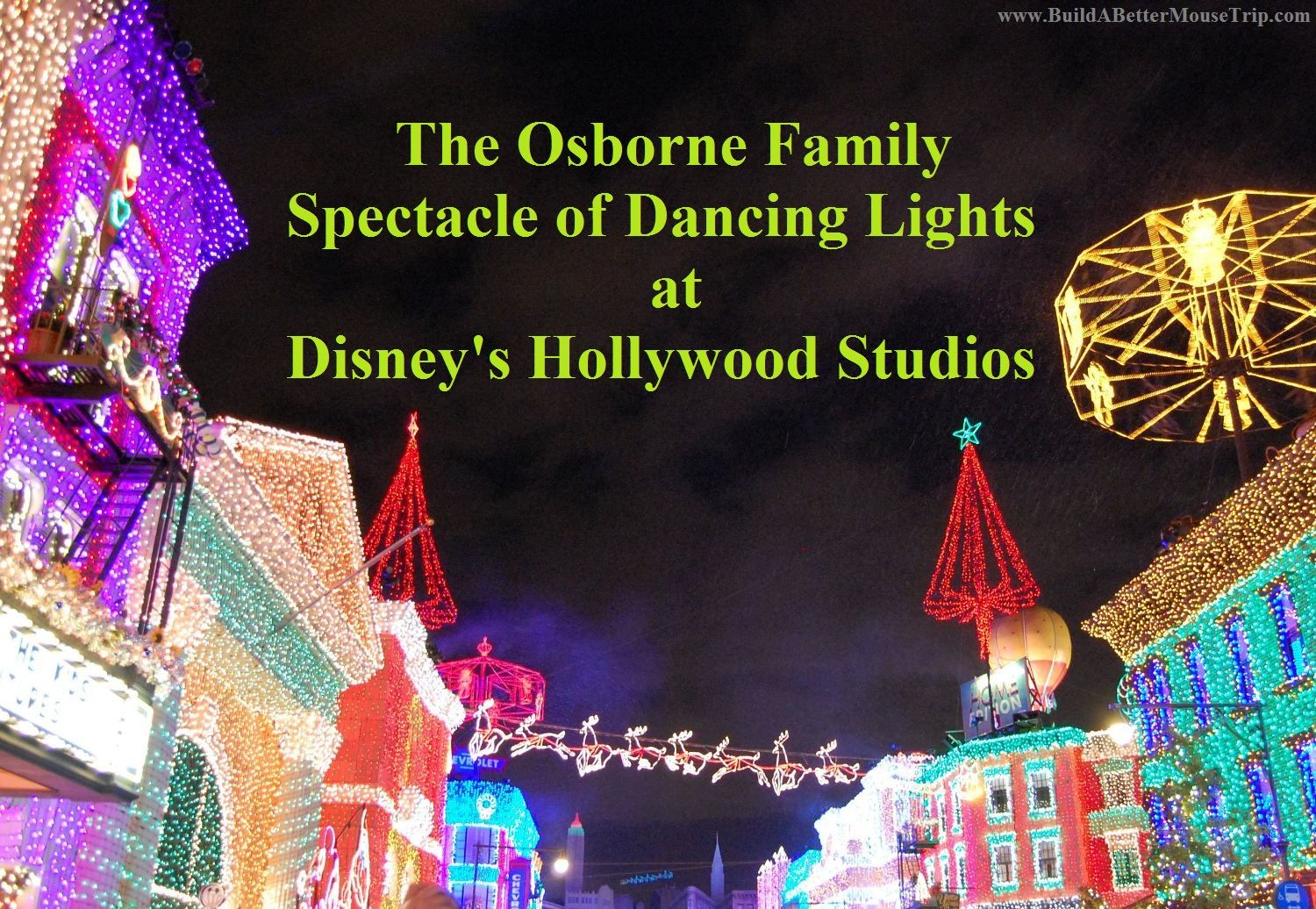"The Osborne Family Spectacle of Dancing Lights is an incredible Christmas light & music display included with admission at Disney's Hollywood Studios. --- Get free & helpful Disney World ""How To"" vacation planning guides, a list of 45 great Disney World freebies, and Step-by-Step advice to help make your next Disney vacation your best Disney vacation ever!  See: http://www.buildabettermousetrip.com/disney-freebies/   #Disneyworld #WDW"
