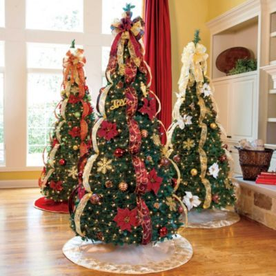 The Pull Up Christmas Tree Is Already Decorated With 400 Clear Mini Lights,  And Shatterproof Ornaments. The Easiest Ever Artificial Christmas Trees.