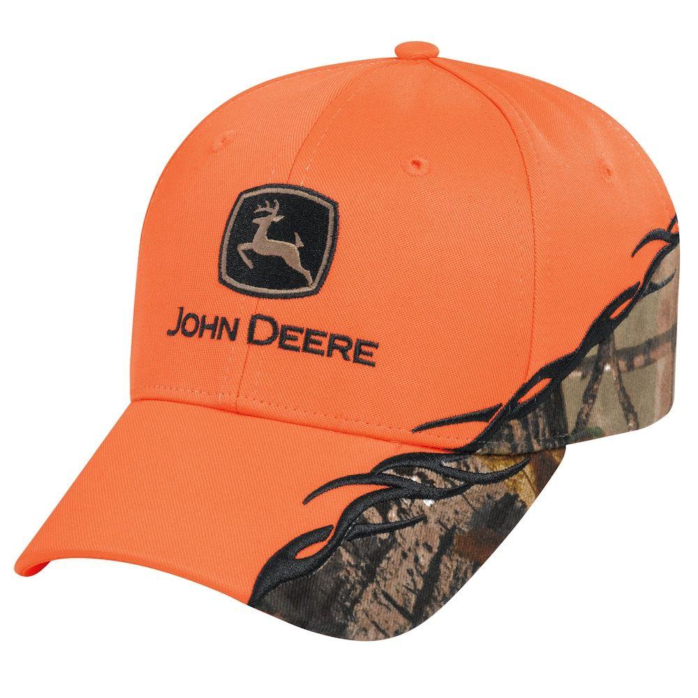 John Deere Blaze Orange Camo Accent Cap  a02fe3e6ee1a
