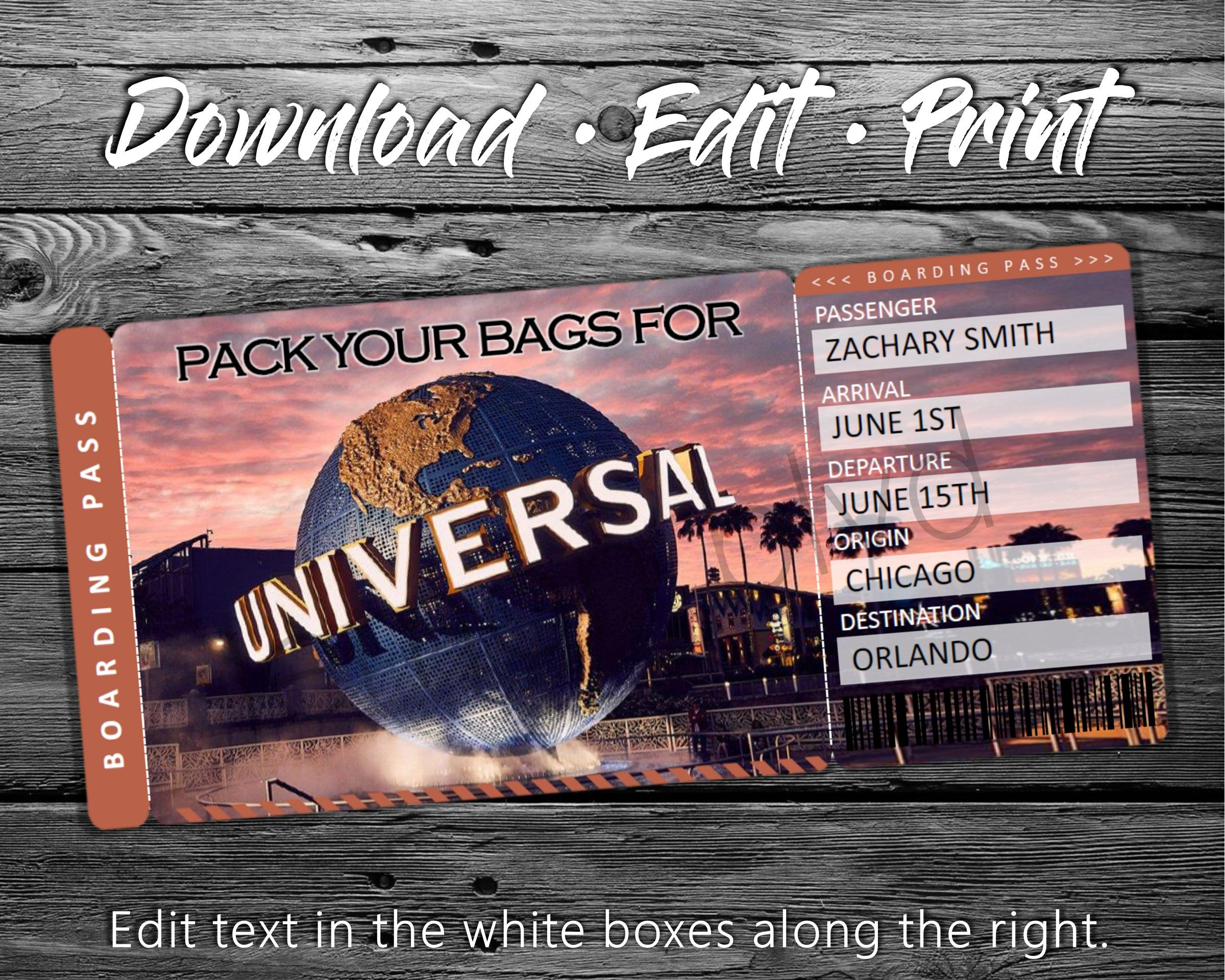 Surprise Universal Trip Ticket Vacation Tickets Instant Download Boarding Pass Printable Trip Ticket Surprise Universal Studios In 2021 Surprise Trip Reveal Surprise Trip Universal Studios Surprise Trip Reveal