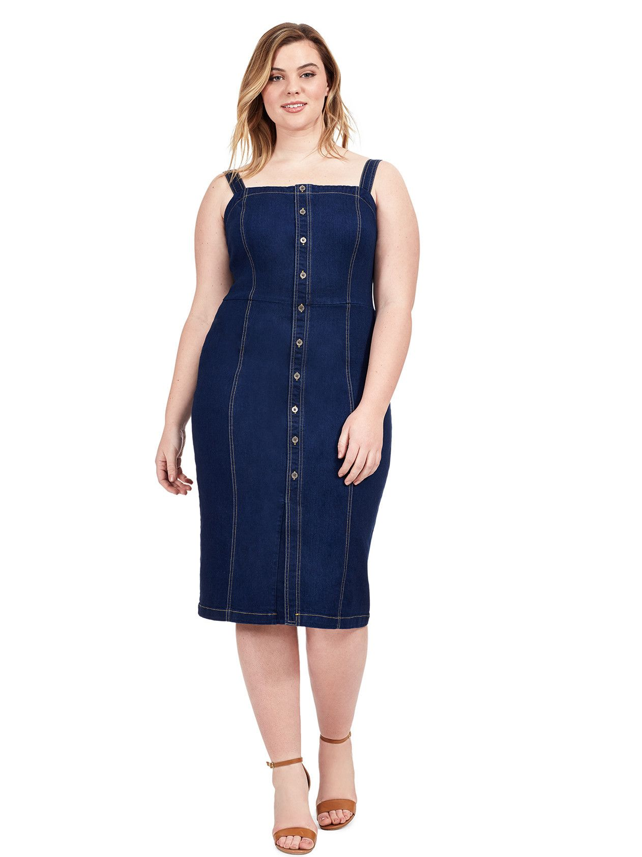 Denim Button Front Dress