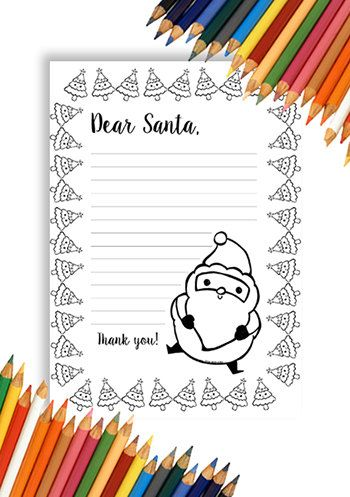 Letter To Santa Claus Print And Color Santas Instant Download Children A4 A5 Christmas