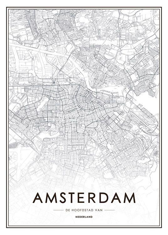 Amsterdam Map Poster Juliste Mustavalkoinen Ja Amsterdam