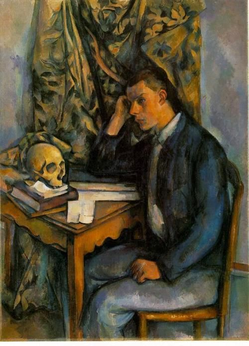Young Man With a Skull: 1896-98 by Paul Cézanne (The Barnes Foundation, Philadelphia, PA) -  Post Impressionism