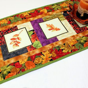 Autumn Leaves Table Runner Quilt Orange Green And Rust Quilted For Fall