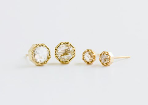 Crown Bezel Diamond Earrings Diameter measures approximately 6mm
