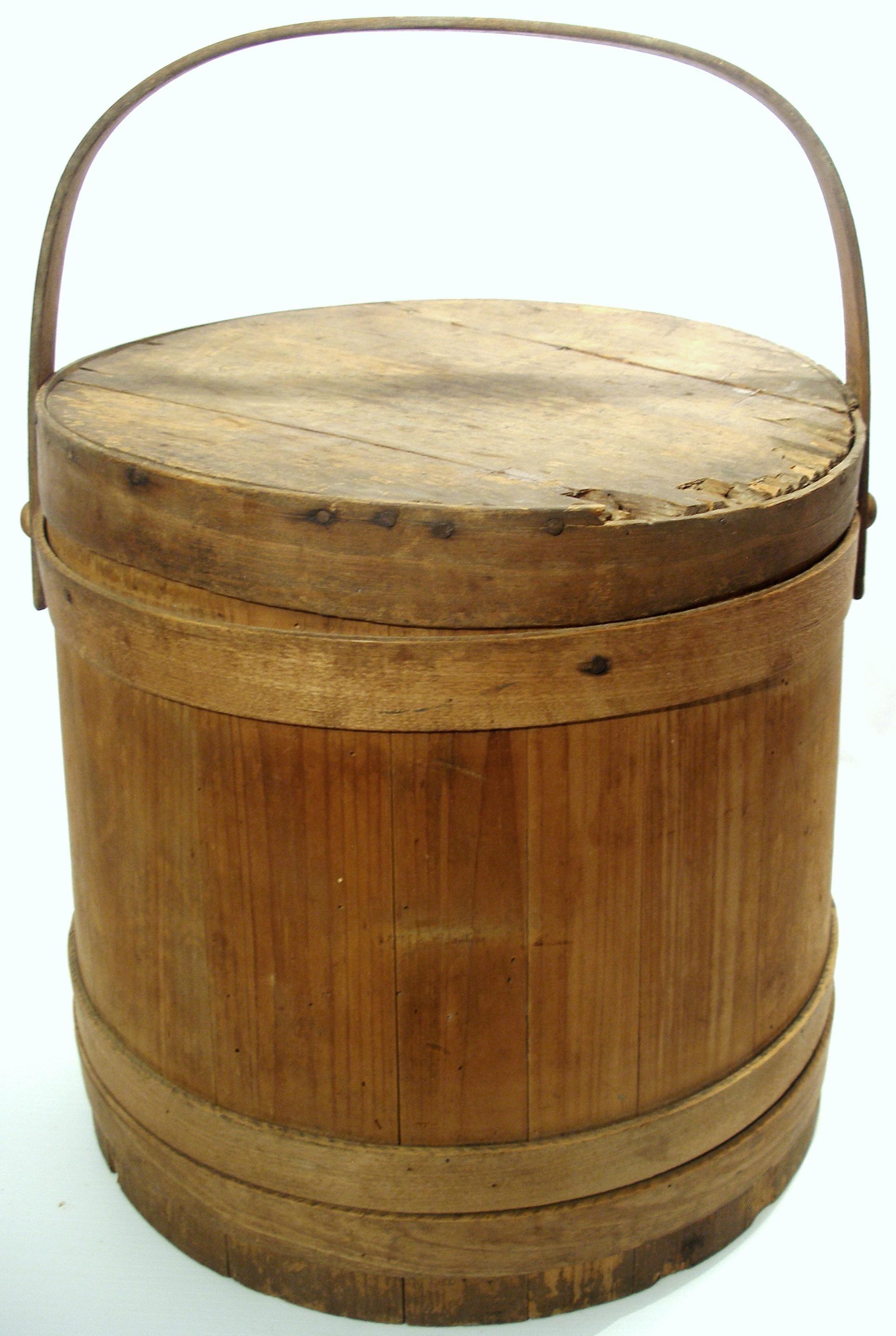 Antique Bent Wood Banded Oak Slat Sugar Firkin Barrel Bucket With Lid In 2020 Bent Wood Antiques Wood Furniture Design