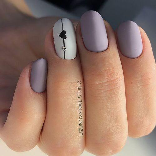 Matte purple heart nails CUTEEE