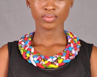 Bijoux d'impression africaine, collier d'Ankara, collier de déclaration, bijoux tribaux, coll... #ankaramode