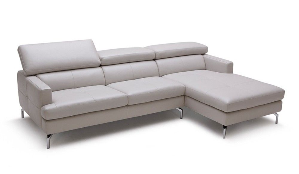 Renzo Small Grey Leather Corner Sofa with adjustable headrest - Top grain leather by Delux Deco  sc 1 st  Pinterest : leather corner chaise - Sectionals, Sofas & Couches