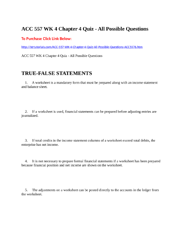 Acc 557 Wk 4 Chapter 4 Quiz All Possible Questions This Or That Questions Income Statement Quiz