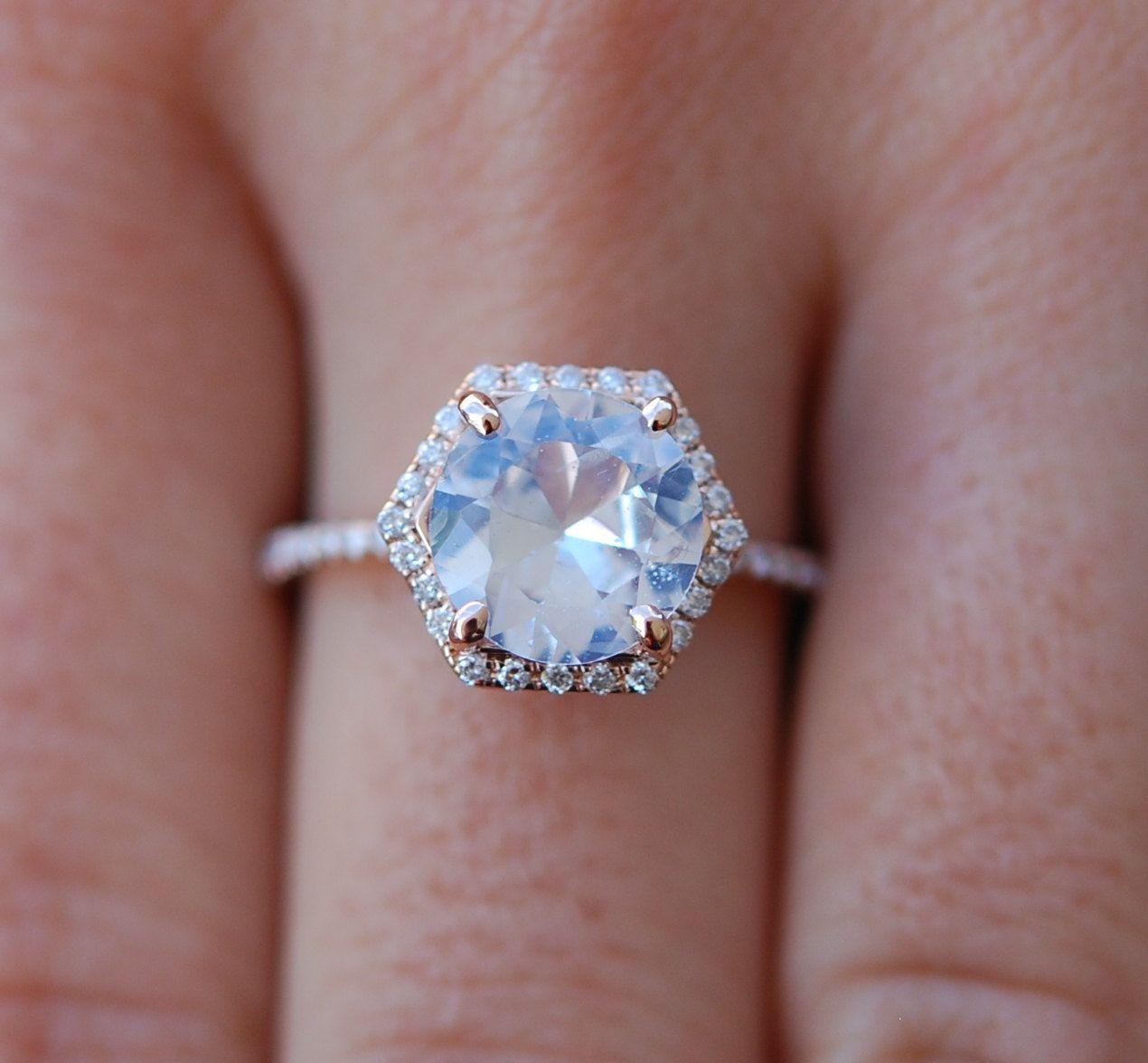 Hexagon Engagement Ring White Sapphire Ring 14k Rose Gold 257ct Round Sapphire  Engagement