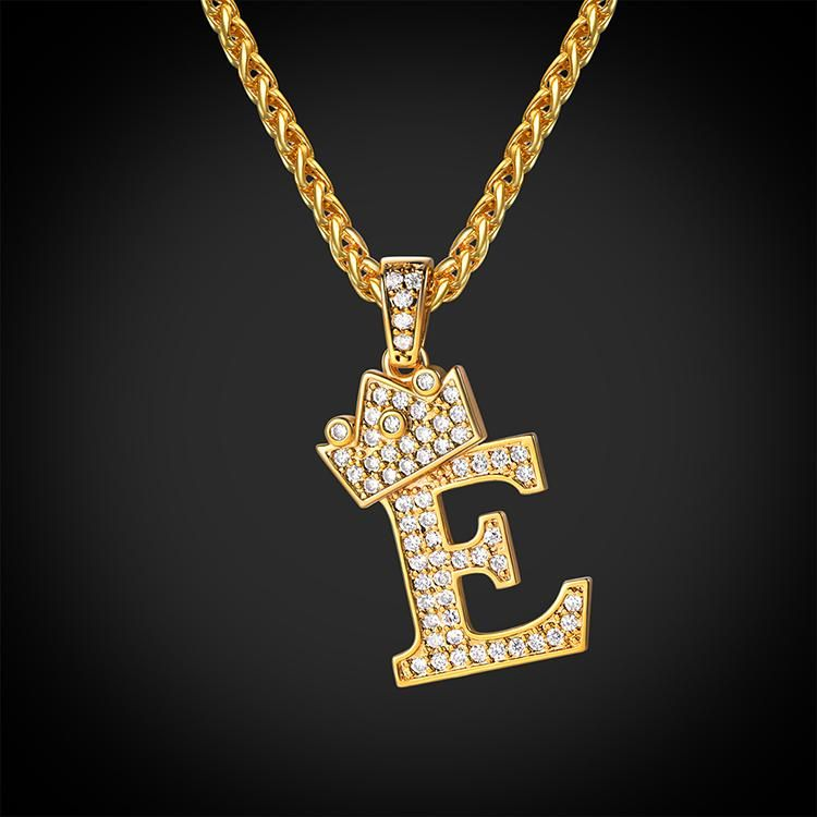 1b029285e8620 Iced Out Crown Letter E Necklace Wheat Chain Initial Jewelry Gift ...
