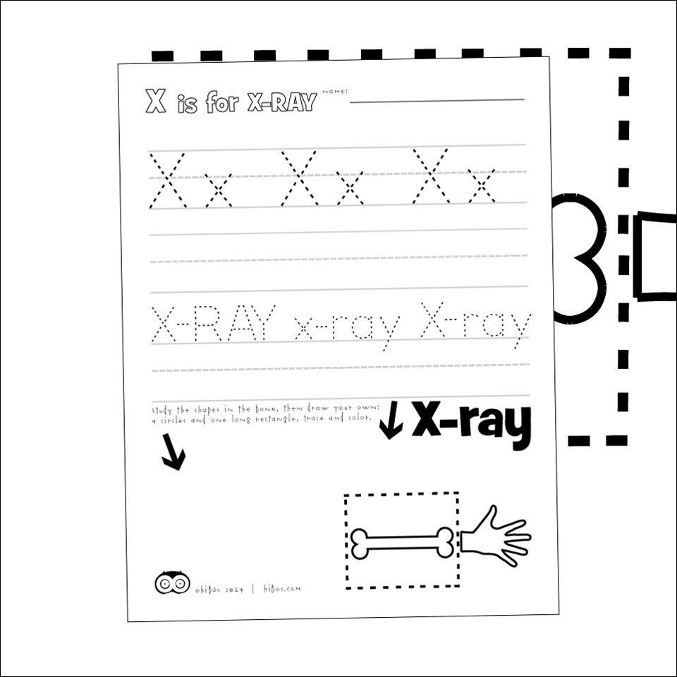 Free printables by Hibos the Owl.  #printables #freeschool #preschool #letters #letteroftheday  #letterx