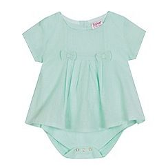 b9a7d9a346ca40 Baker by Ted Baker - Baby girls  light green pleated dobby bodysuit ...