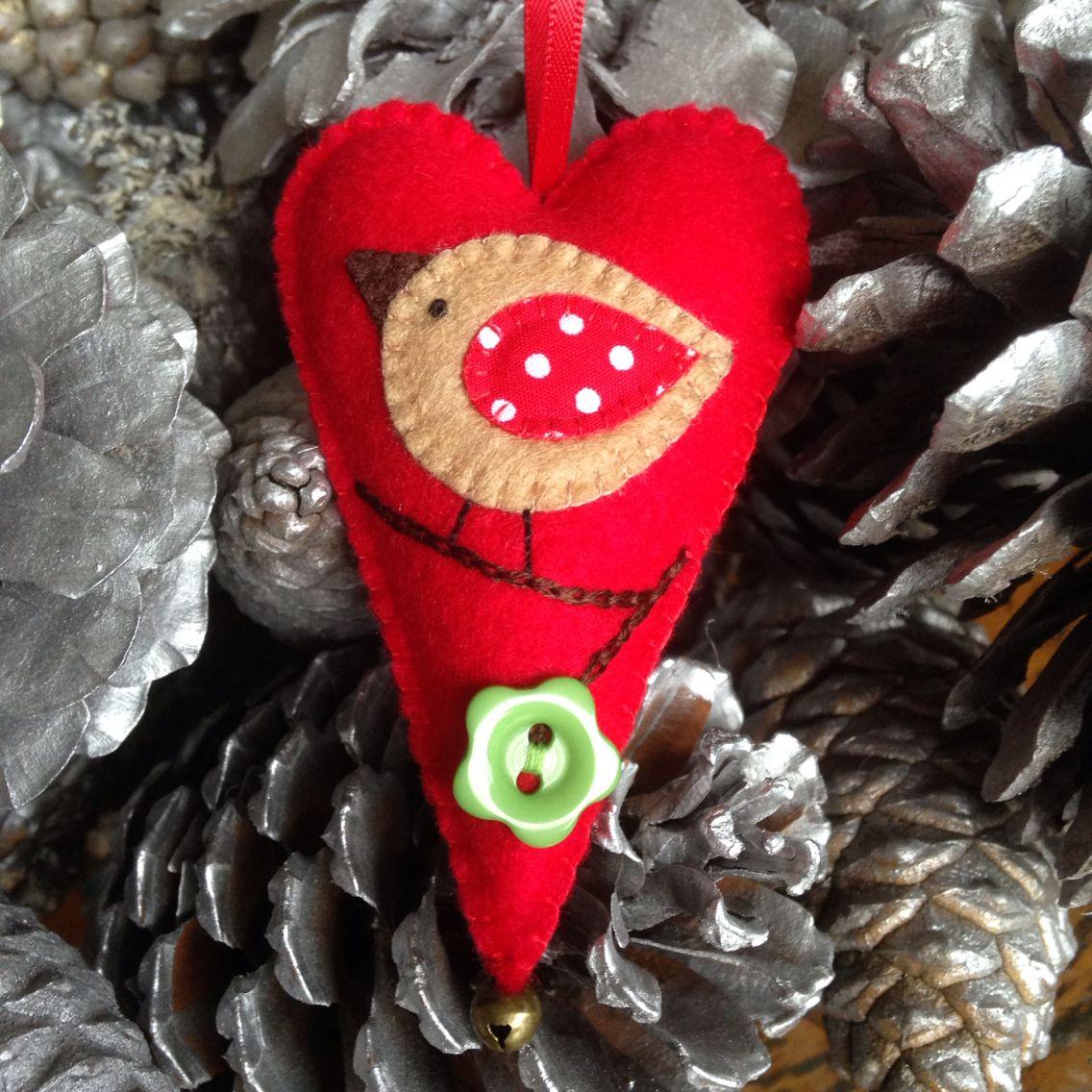Hand stitched Felt Christmas Heart