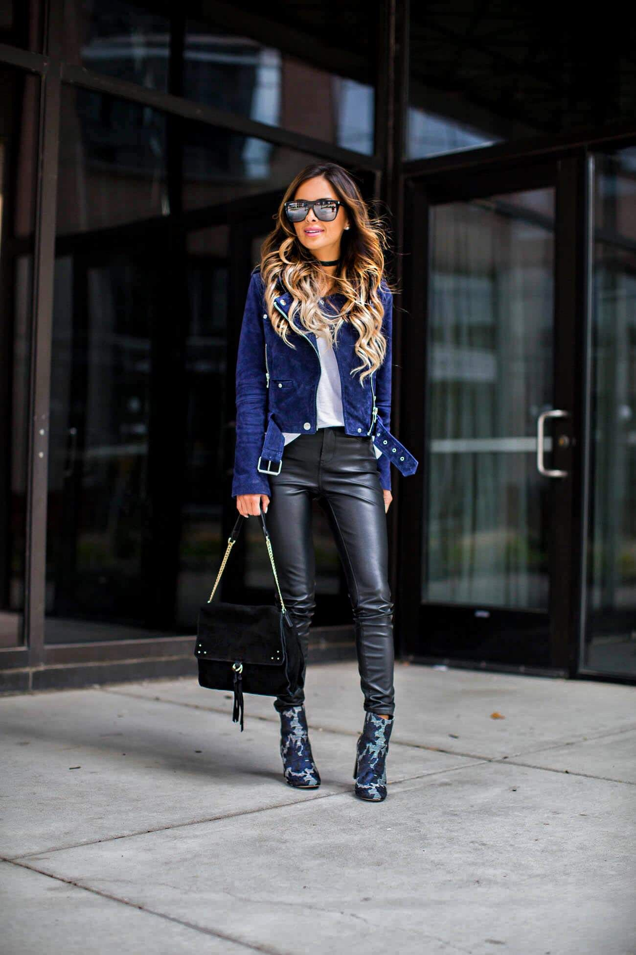 c8f1719d09a9 fashion blogger Mia Mia Mine wearing blanknyc vegan leather pants and  embroidered booties from sole society