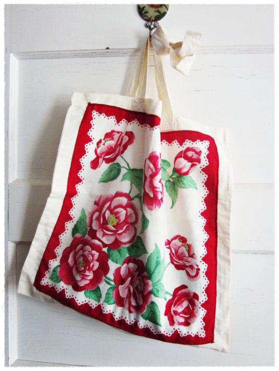 Vintage Hankie Tote Bag Upcycled Red Floral by beevintageredux, $21.00