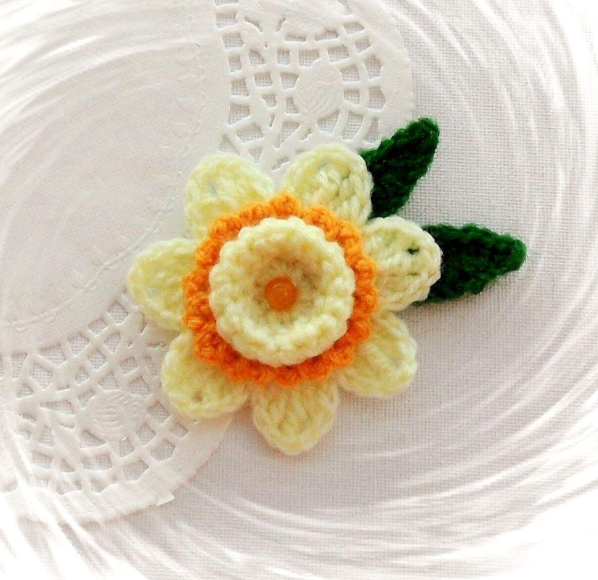 Hand Crochet Brooch Applique Yellow Acrylic Daffodil Flower