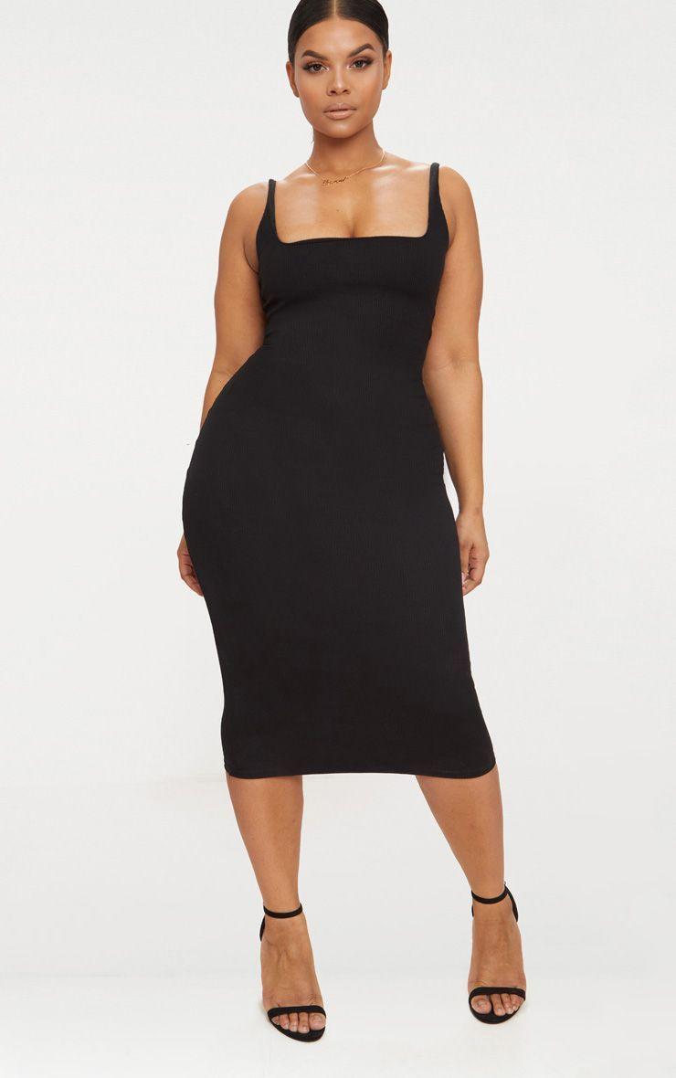 Plus Black Ribbed Square Neck Midi Dress Plus Size Professional Clothing Designer Plus Size Clothing Plus Size Dresses [ 1180 x 740 Pixel ]