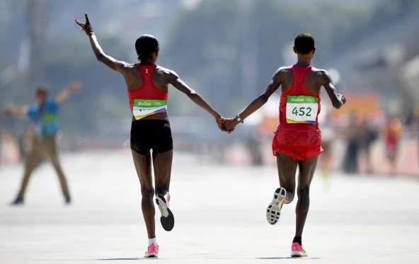Gold medalist Jemima Sumgong of Kenya and silver medalist Eunice Jepkirui Kirwa…