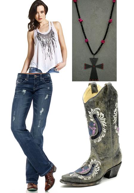 western outfits women - Google Search - Wrangler Women's Lavender Paisley Print Cold Shoulder A-Line Long