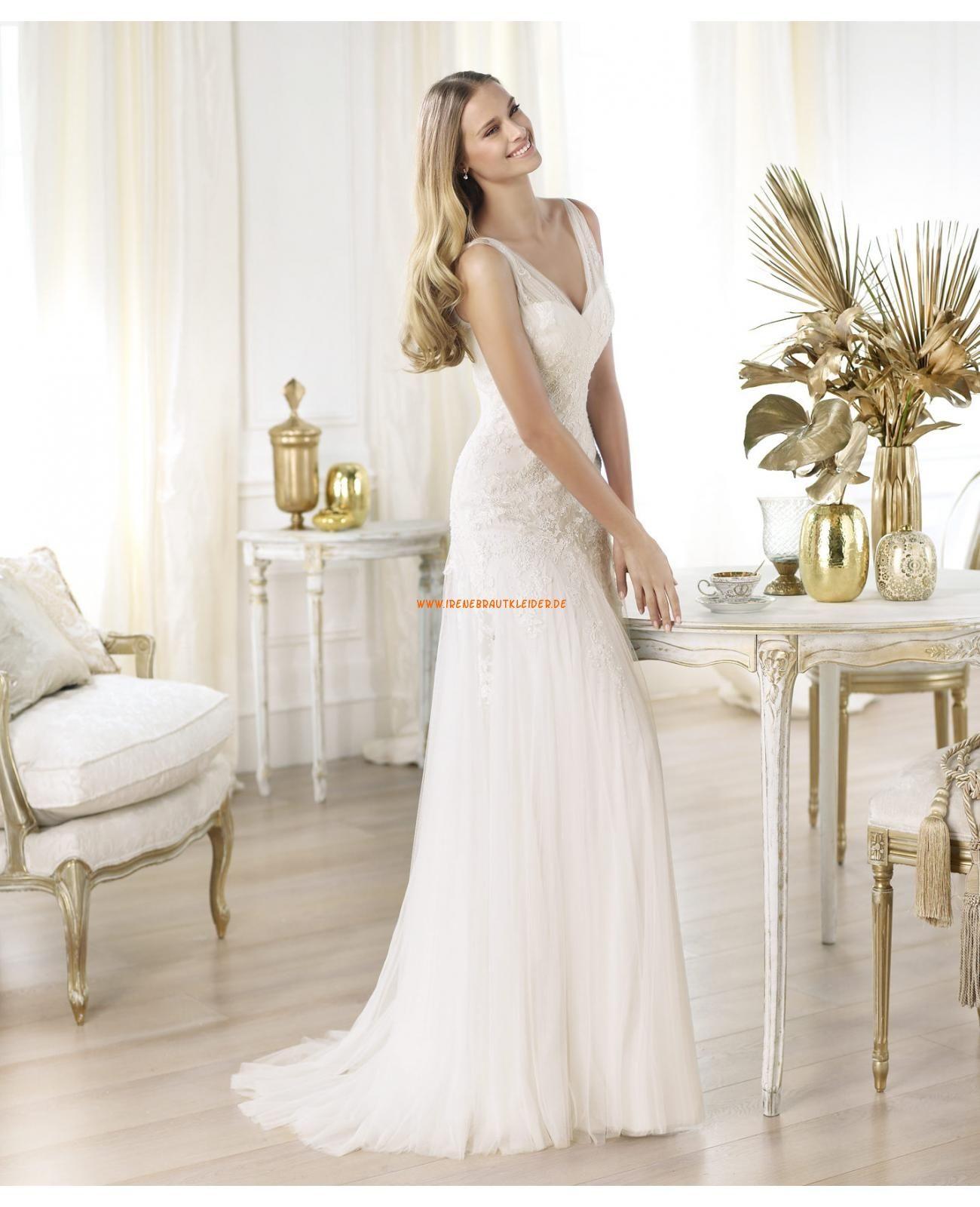 2014 Elegante Brautkleider aus Tüll und Satin V Ausschnitt