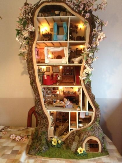 A mouse house inside a hollow tree -- amazing!