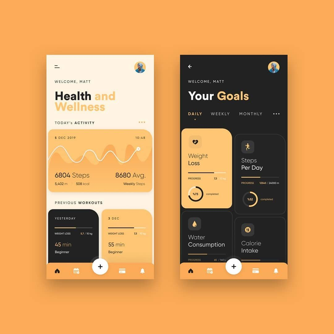 "TwoHabits on Instagram: ""Health App by @akmurat — The app provides core features to keep up your body fit and healthy / Daily inspiration, follow us and get…"""