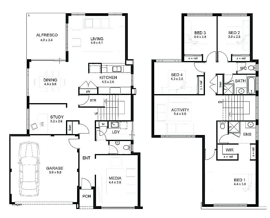 Image Result For House Plan Two Story Four Bedroom Double Storey House Plans Two Storey House Plans House Plans Australia