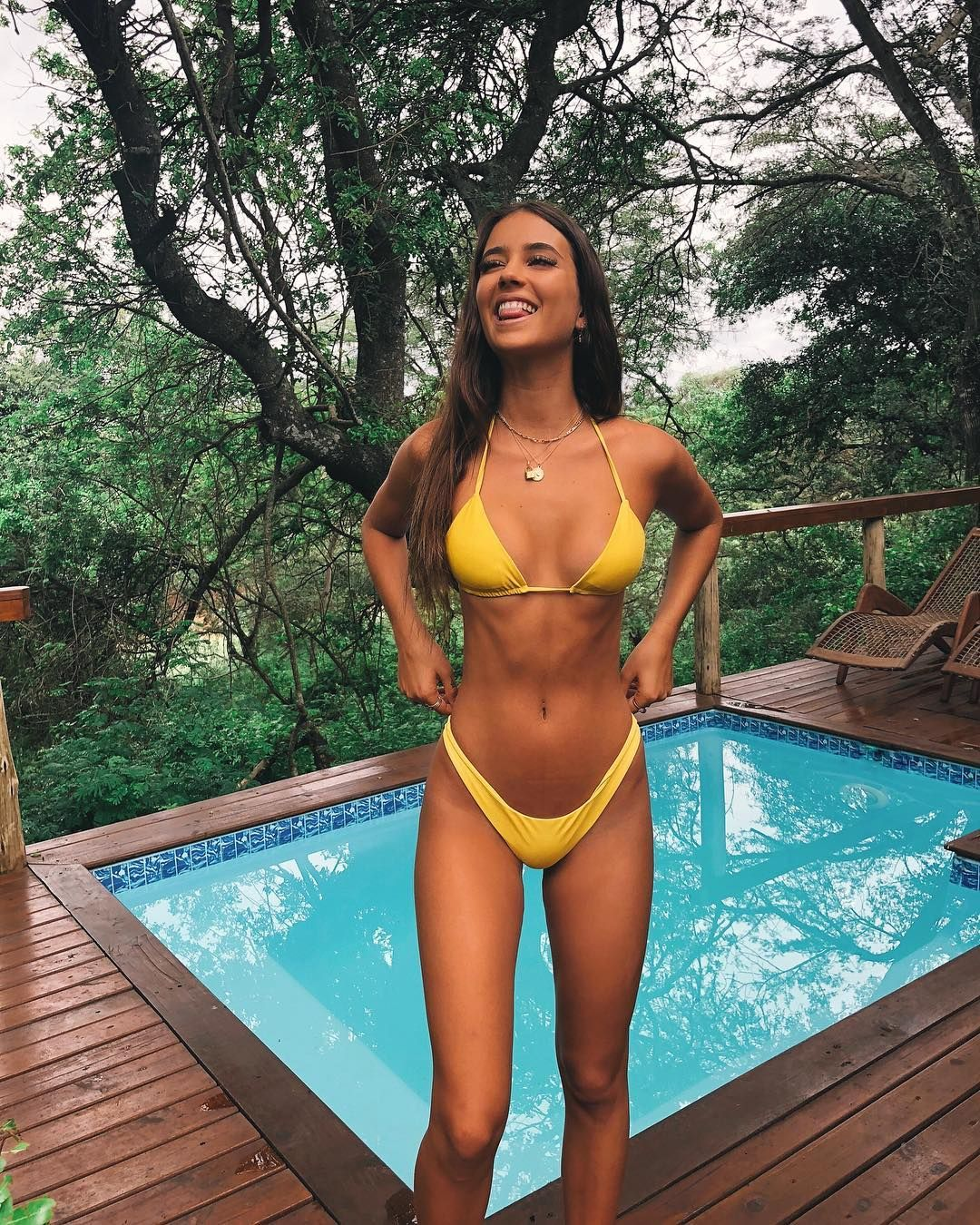 95d339b816 sexy brunette model Elisha Herbert in a yellow bikini