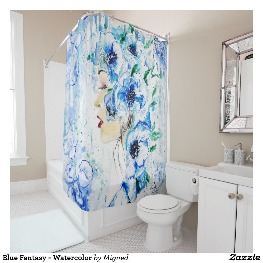 Blue Fantasy Watercolor Shower Curtain