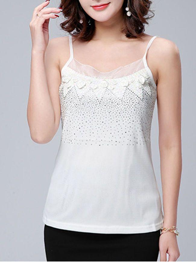 Spaghetti Strap Glitter Rhinestone Plain Sleeveless T-Shirt