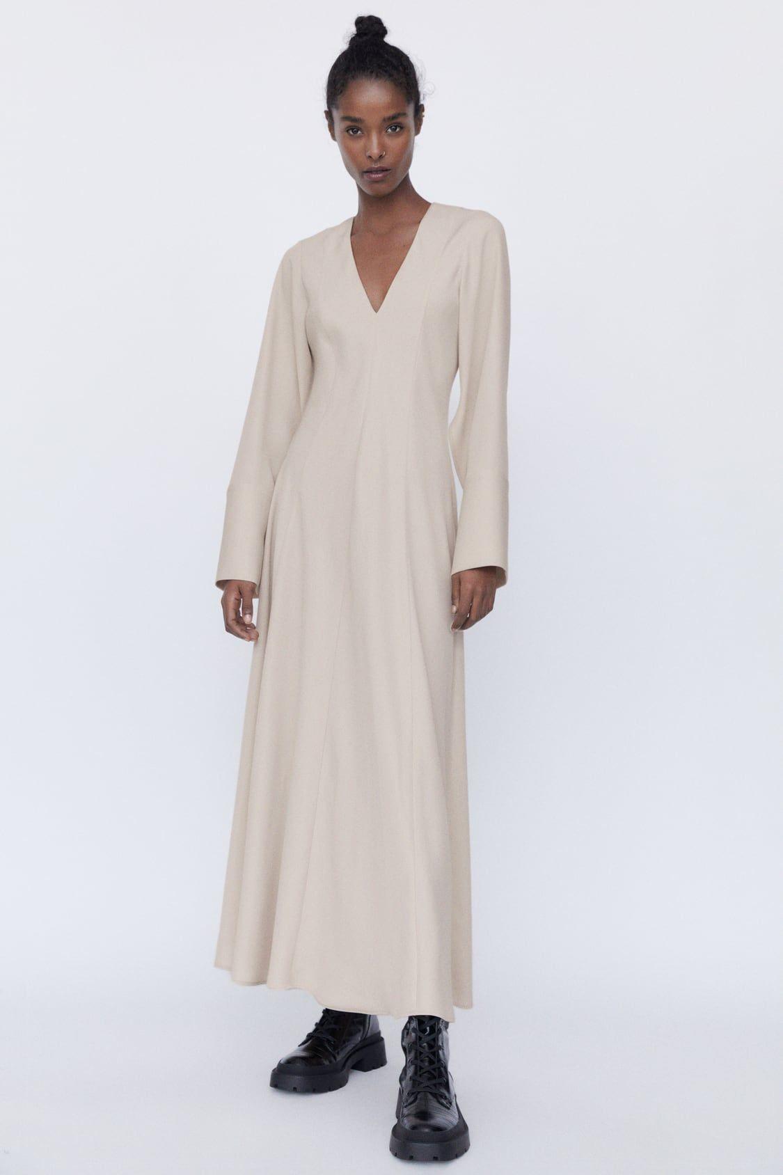 zara - woman - midi dress with voluminous sleeves | ballrock