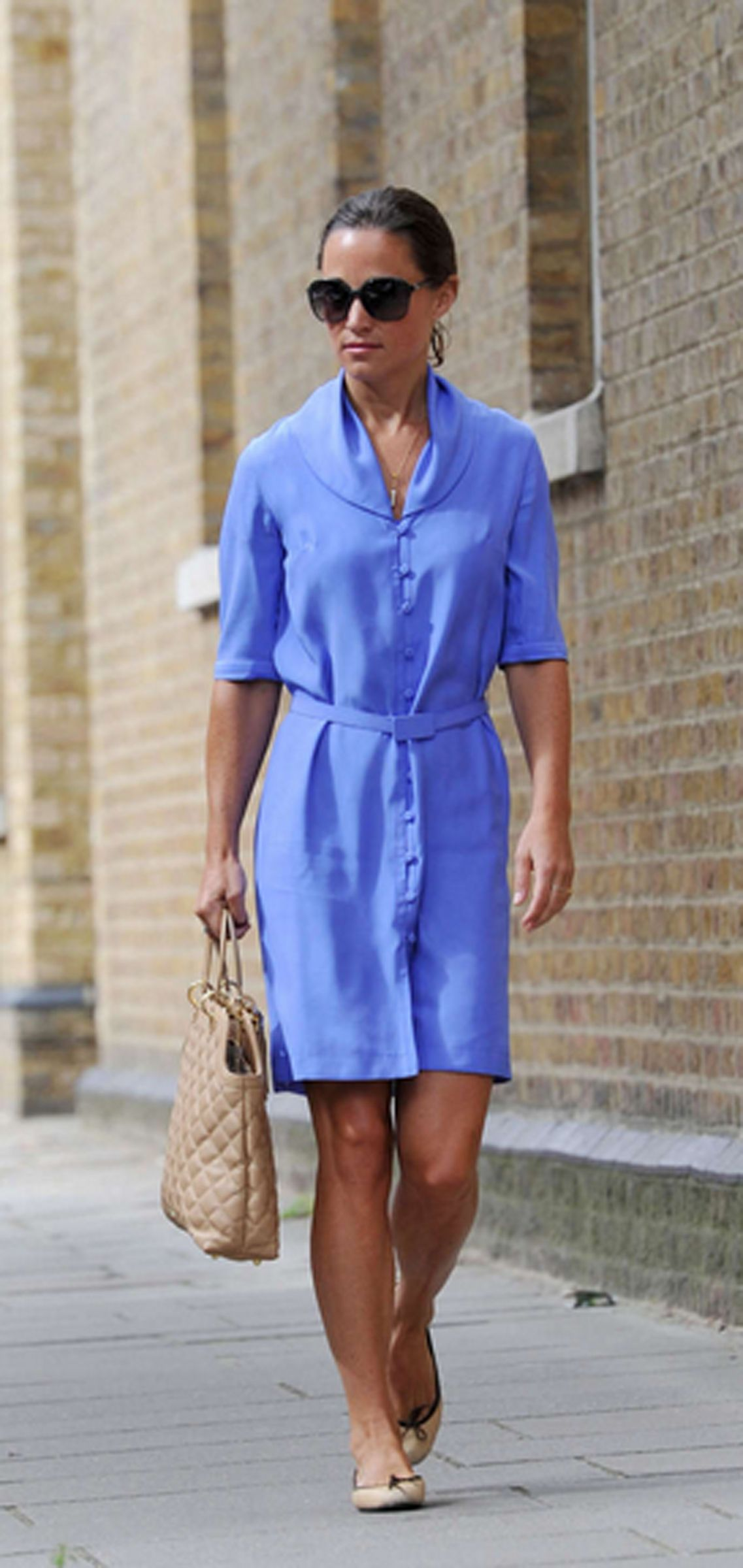 b9eeb16ded95 Pippa Middleton wearing her French Sole India Nude Leather ballet flats  around London.