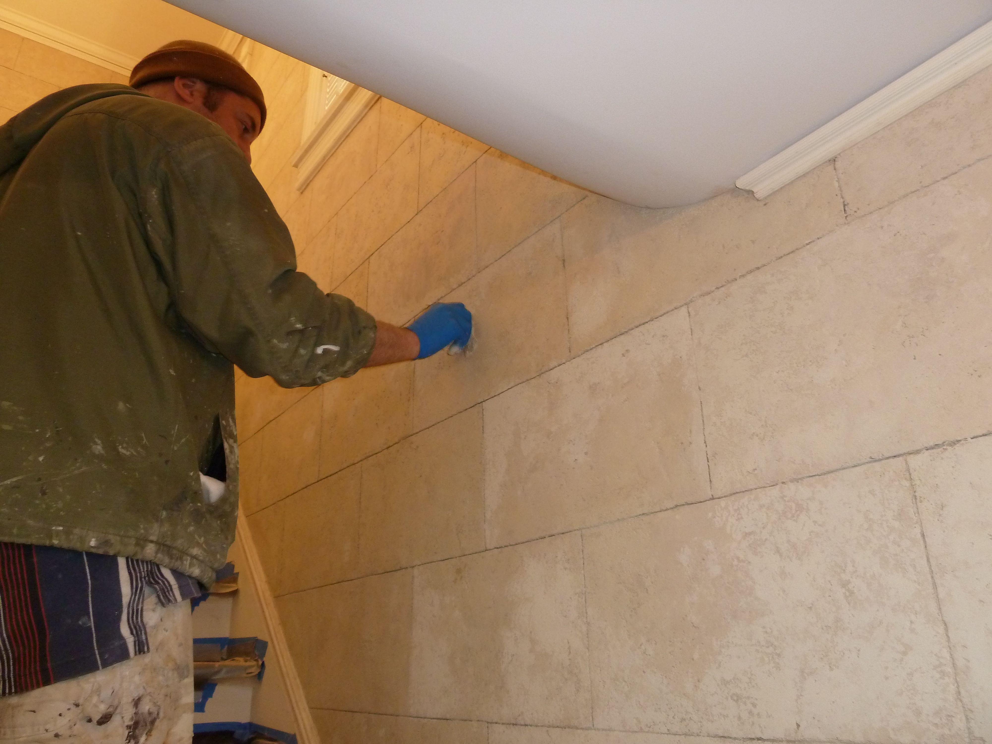 Faux Limestone Wall In Progress Foxy Faux Stone Pinterest Walls - Faux limestone tile