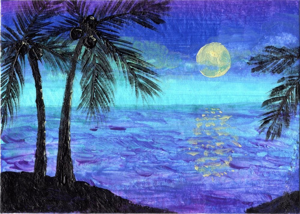 Ebay $9.99 ACEO Original Painting Beach Ocean Moon Palm