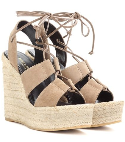 b096427beb0 Saint Laurent Espadrille 95 Suede Wedge Sandals For Spring-Summer 2017
