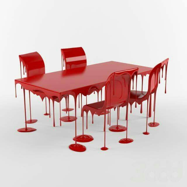 Cheap Unique Furniture: Obsessed With This Bloody Table For Halloween. So