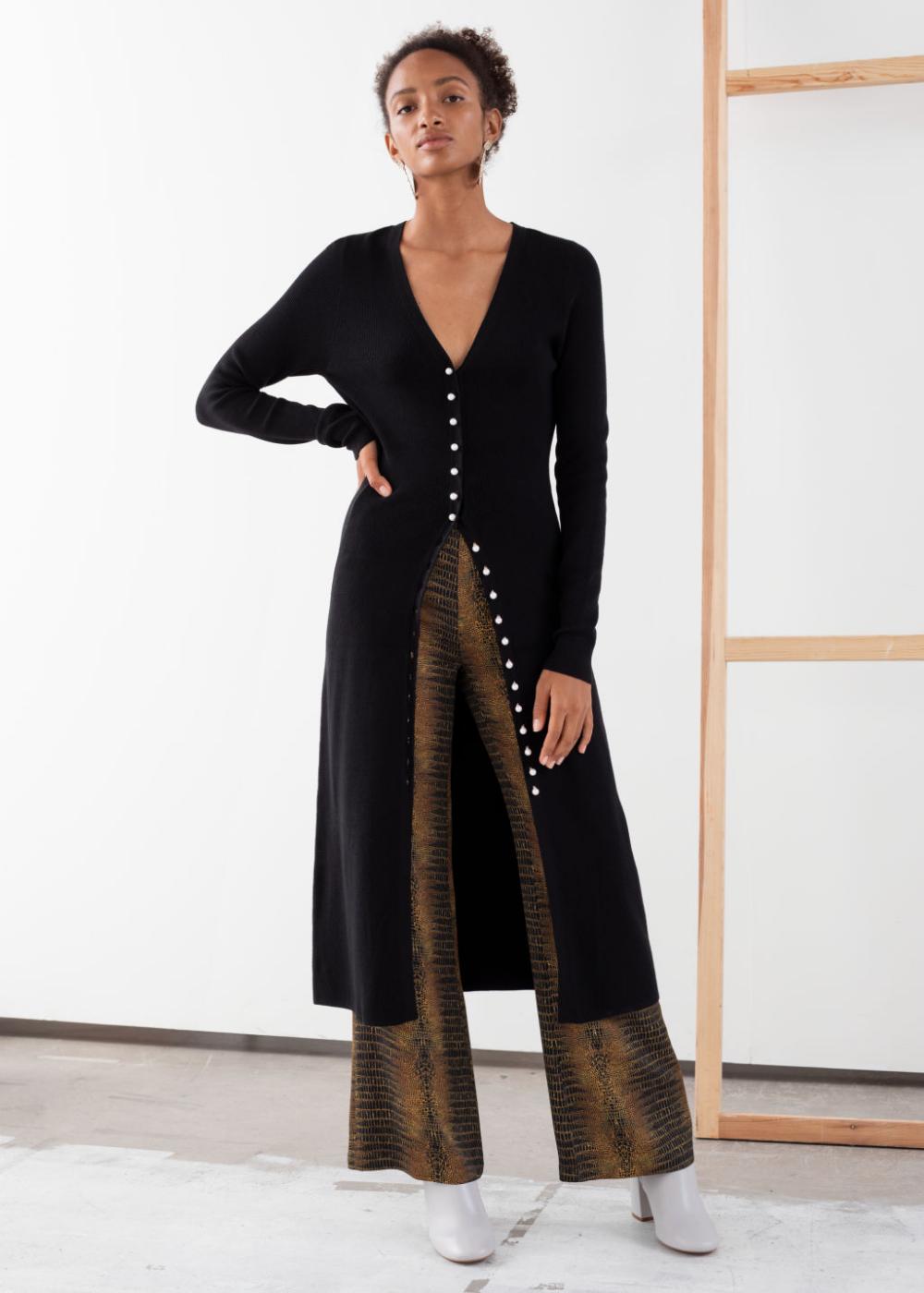 Ribbed Knit Button Up Midi Dress Midi Dress Midi Length Dress Fashion Clothes Women [ 1400 x 1000 Pixel ]