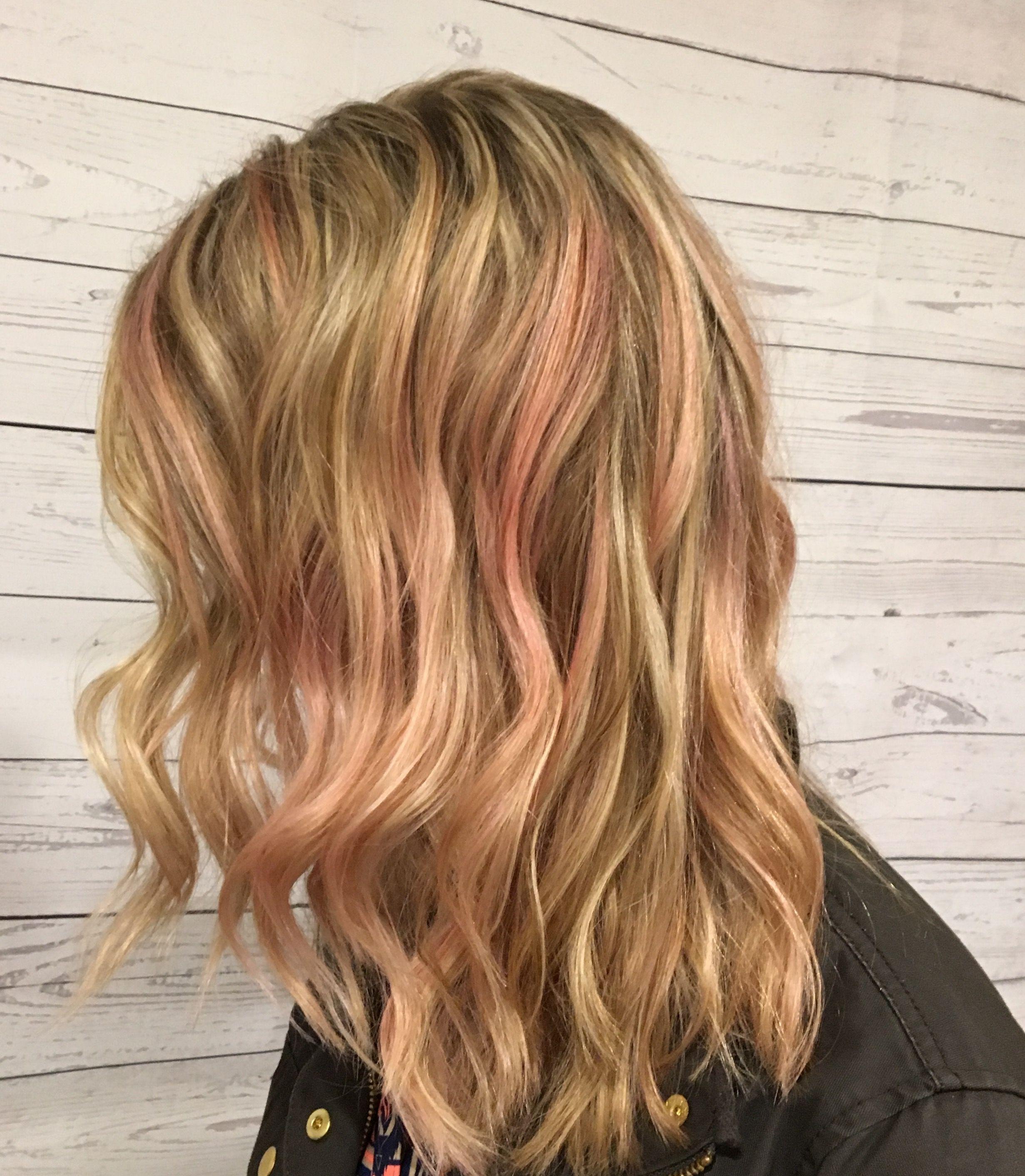 Pink Hair Highlights Rose Gold Hair Pink Blonde Hair Rose Gold