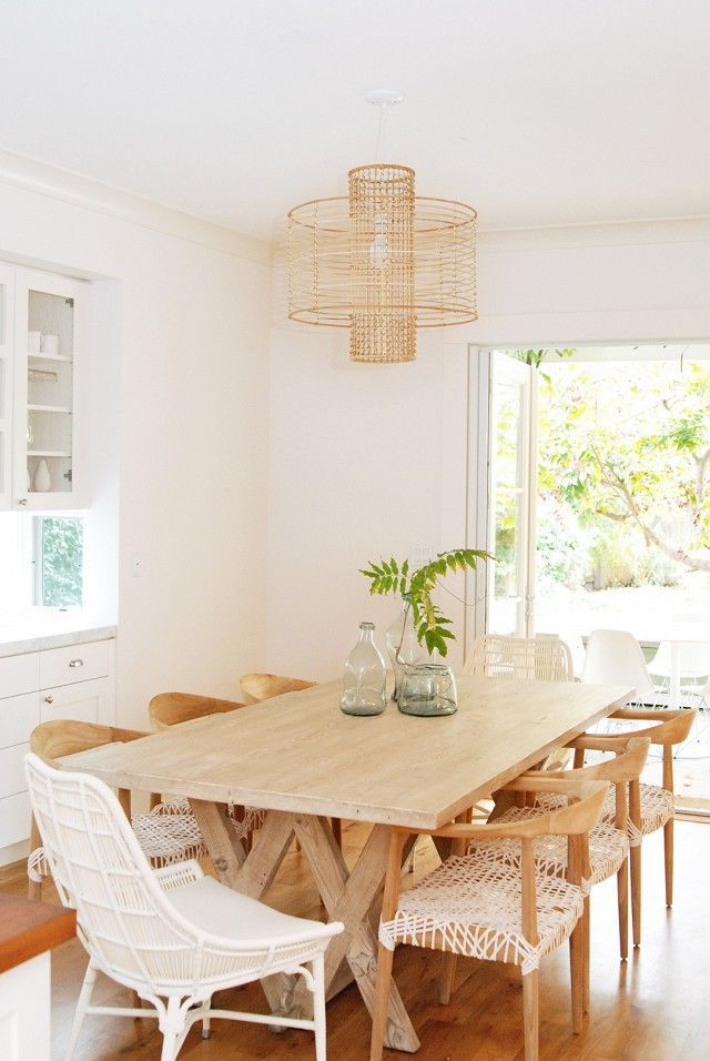 Neutral Dining Room // Light Wood Tones Mixed With White // Mixed Dining  Chairs // Simple Styling