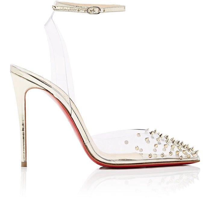 lowest price 86e88 0a9fe Christian Louboutin Spikoo Pvc & Specchio Leather Sandals ...