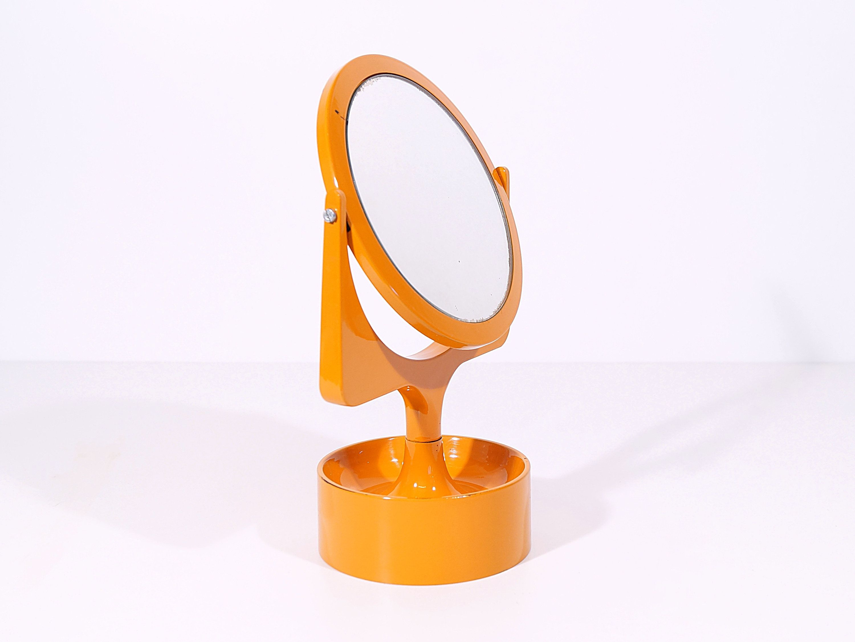 Make Up Mirror Orange 70s Space Age Mirror Swivel Vintage