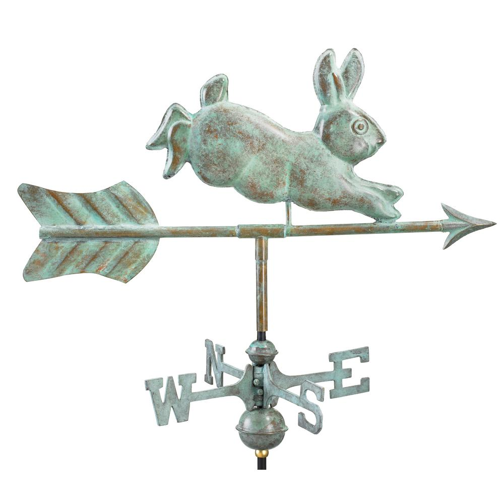 Good Directions Rabbit Cottage Weathervane Blue Verde Copper With Roof Mount 809v1r The Home Depot Weathervanes Good Directions Garden Poles