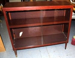 Red Tone Mid Century Book Shelf Cabinet - bar for the man cave? Painted high gloss black