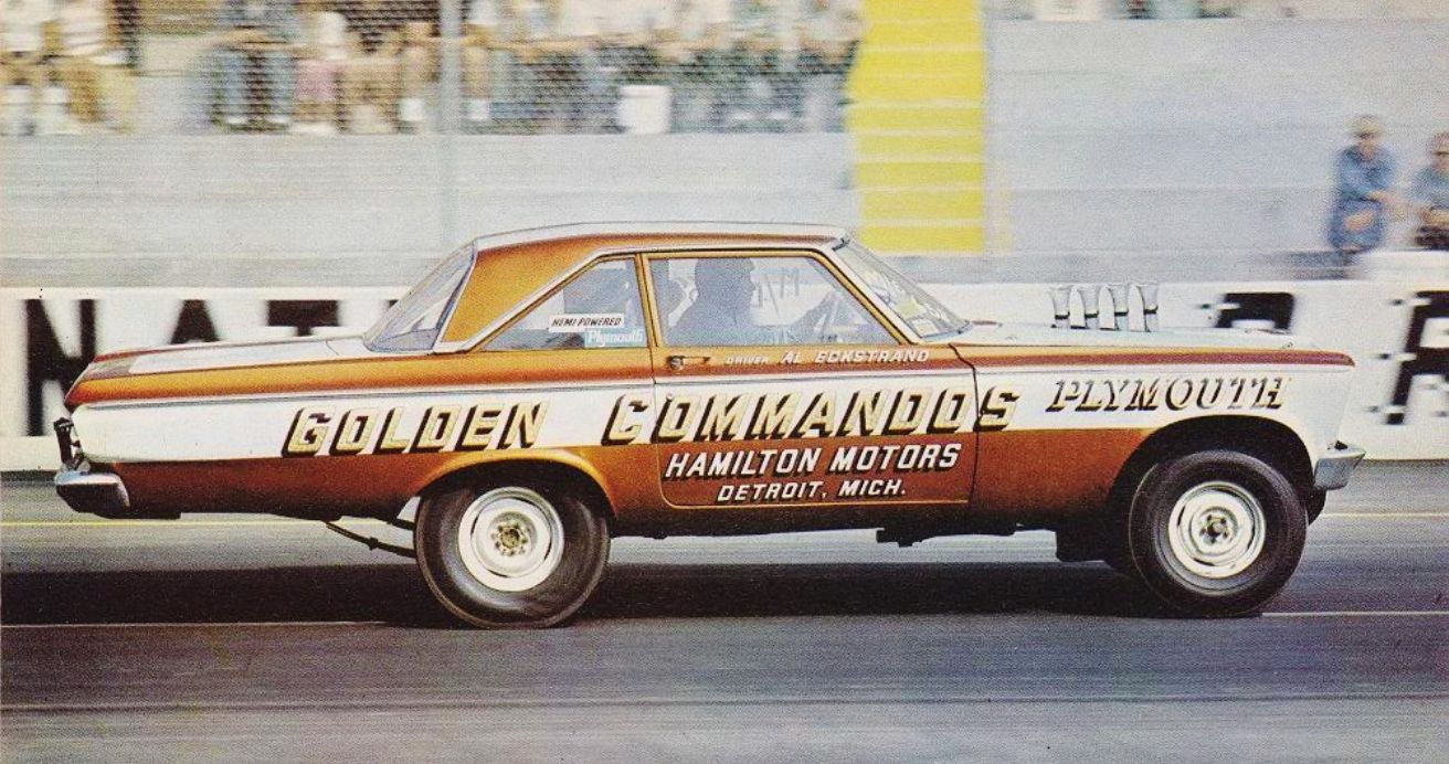 Al Eckstrand at the wheel of the '64 Golden Commandos altered wheelbase Plymouth Hemi.