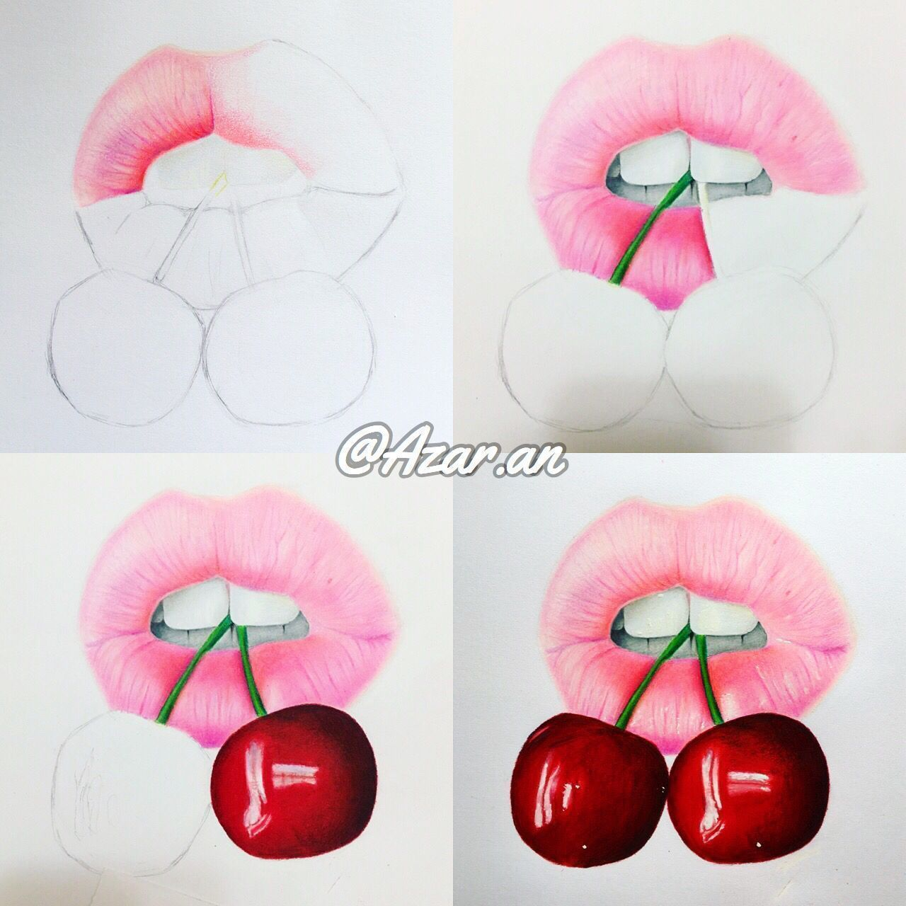 Lip Colored Pencil Drawing Lippencilcolors