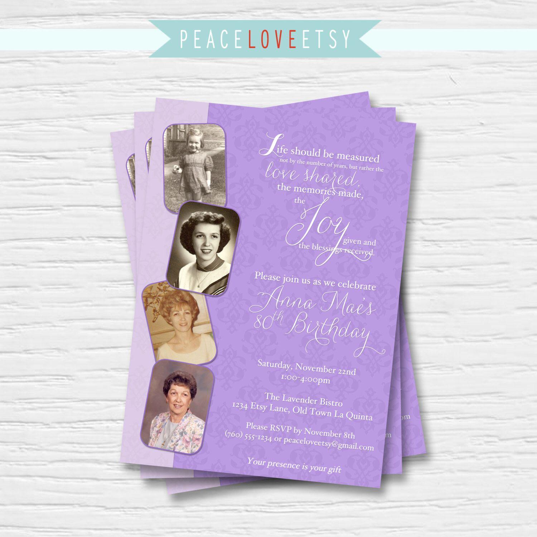 Women's Birthday Invitation 5x7 40th, 50th, 60th, 70th